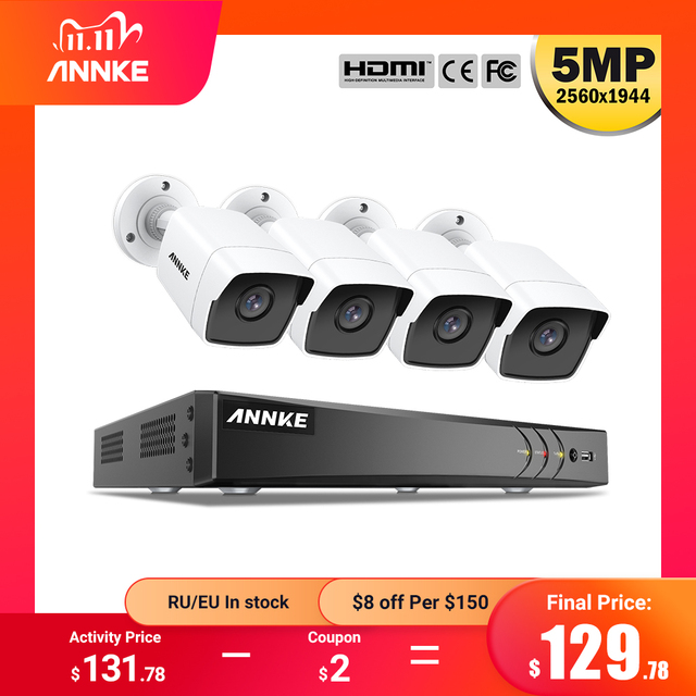 ANNKE H.265 + 5MP Lite Ultra HD 8CH DVR CCTV Security System 4PCS 5MP IP67 Weaterproof Outdoor 5MP Kamera video Überwachung Kit
