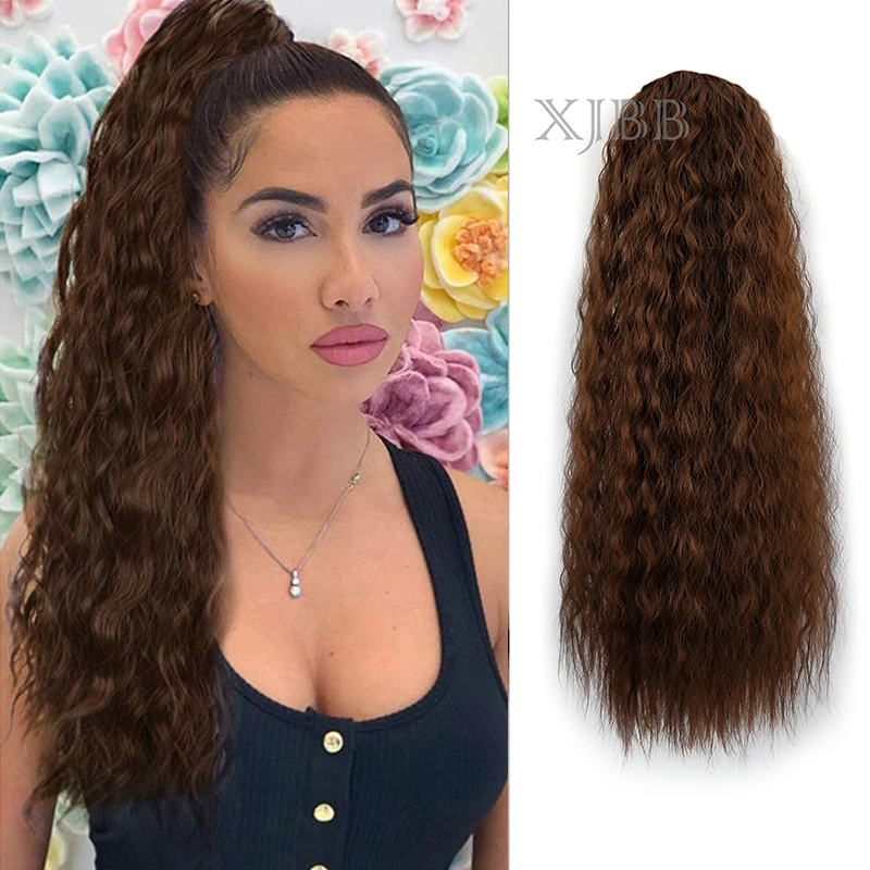 Afro Puff Long Kinky Curly Drawstring Ponytail For Women 22 Inch Clip In Wavy Natural Pony Tail Hair Extensions