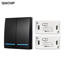 Qiachip 433 mhz sem fio rf controle remoto interruptor de luz ac 110v 220v 1ch relé receptor painel parede quarto interruptor da lâmpada do teto