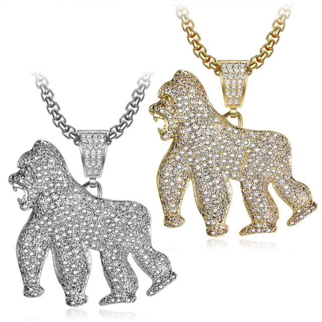 Men Hip Hop Iced out bling Gorilla Pendant Necklaces Pave setting cubic zirconia animal shape necklace Hiphop jewelry gifts