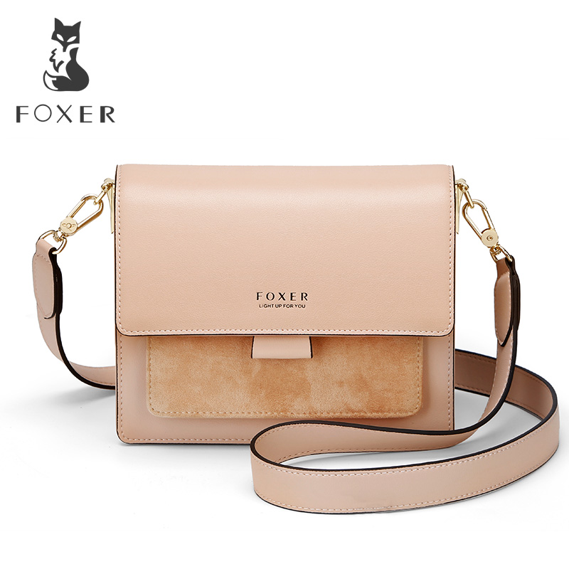 FOXER Women Shoulder Bag Crossbody Bag Woman Leather Strap Bags Valentine's Day Present Gift Female Messenger Bag Lady Flap