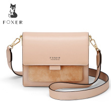 FOXER Women Shoulder Bag Crossbody Bag Woman Leather Strap Bags Valentine's Day Present Gift Female Messenger Bag Lady Flap foxer brand 2018 women s leather bag fashion crossbody bags for women chain bags girl shoulder bag gift for valentine s day