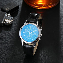 2019 New Watches Men luxury PU Leather Analog Quartz Wristwatches Chronograph Blu Ray Glass Watch Neutral Quartz Montre Homme new luxury fashion faux leather men blue ray glass quartz analog watches casual cool watch brand men watches 2016 1122