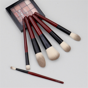 Image 3 - Японский бренд + SP темно красный 6 шт набор кистей для макияжа, Мягкая косметическая кисть для пудры, аксессуары для инструментов