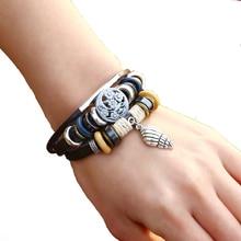 Creative student beaded bracelet adjustable Jewellery for women  braided leather men punk vintage Bangles