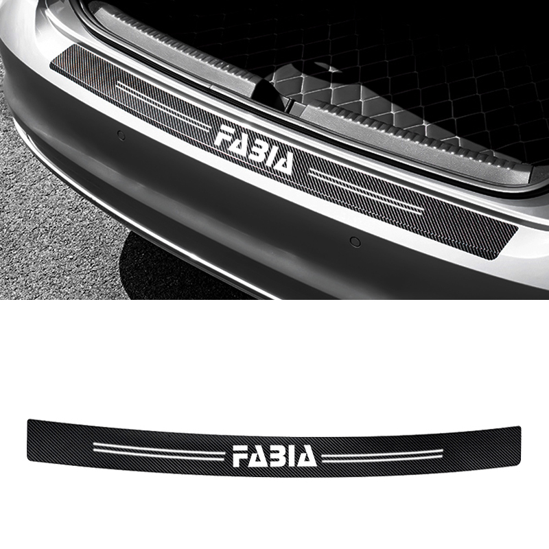1pcs 90*7cm Rear Bumper Protection Carbon Fiber Sticker Decoration For Skoda Fabia 1 2 3 Mk1 Mk2 Accessories