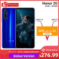 Global Version Honor 20 Smartphone 6G 128G Kirin 980 Octa Core 48MP Four Cameras Mobile Phone 6.26'' NFC Google Play Supercharge