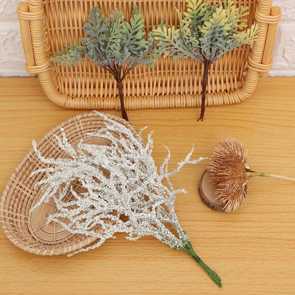 Scrapbooking Artificial Plant White Grass Simulation Flowers Snow Pine Branch