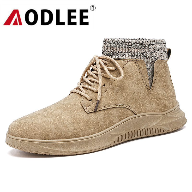 AODLEE Boots Men Sneakers Winter Snow Boots For Men Ankle Boots Matte Leather High Top Mens Shoes Casual Lace Up Botas Hombre