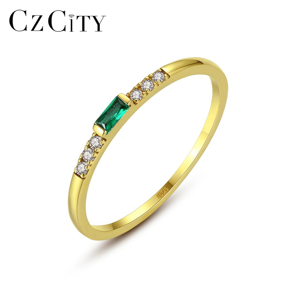 CZCITY Simple Classic Real 14K Gold Rings For Women Bridal Wedding Engagement Yellow Gold Fine Jewelry Au585 CZ Anel Gift R14140