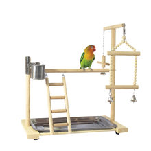 Parrot Playstands with Cup Toys Tray Bird Swing Climbing Hanging Ladder Bridge Wood Cockatiel Playground Bird Perches 53x23x36Cm(China)