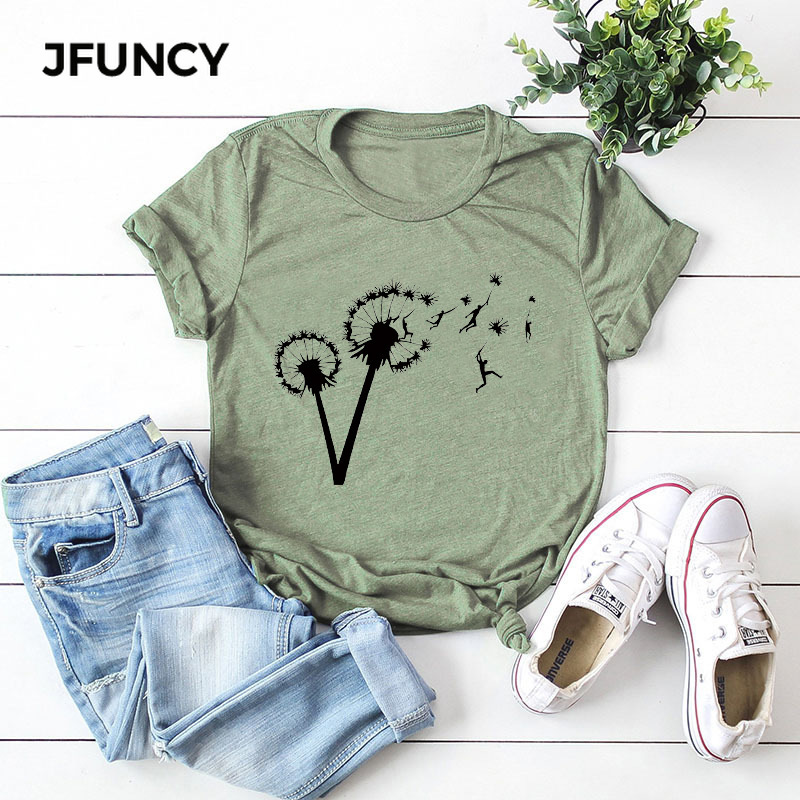 Plus Size S-5XL T-Shirt Dandelion Free Flying People Print Tshirt Women Cotton O Neck Short Sleeve Summer Tee Tops Casual Shirts