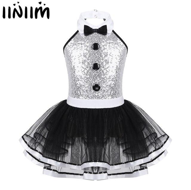Iiniim Kinder Mädchen Moderne Dancewear Kostüm Größte Show mann Phantasie Glänzende Pailletten Dekorative Taste Gymnastik Trikot Tutu Kleid