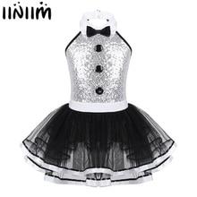 Iiniim crianças meninas moderno traje de dança maior mostra homem fantasia brilhante lantejoulas botão decorativo ginástica collant tutu vestido