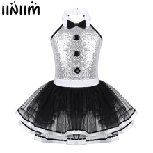 Iiniim çocuk kız Modern Dancewear kostüm büyük gösterisi adam fantezi parlak pul dekoratif düğme jimnastik Leotard Tutu elbise