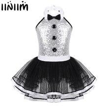 iiniim Kids Girls Modern Dancewear Costume Greatest Show man Fancy Shiny Sequins Decorative Button Gymnastics Leotard Tutu Dress