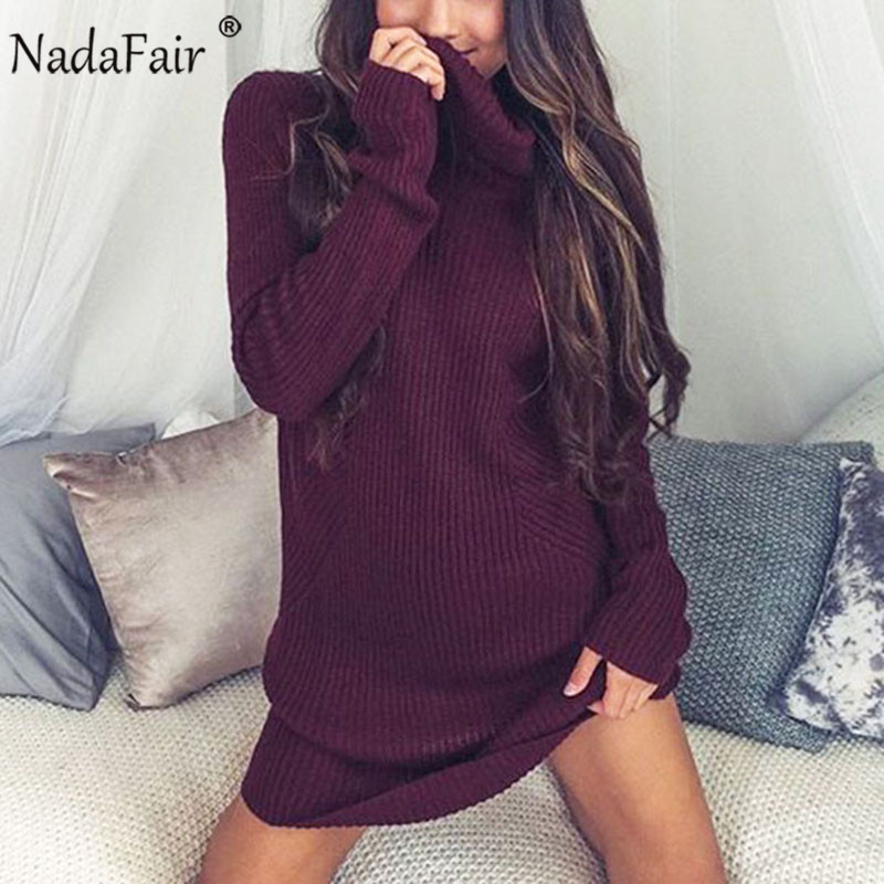 Nadafair Turtleneck Plus Size Autumn Winter Dress Women Solid Loose Mini Casual Knitted Sweater Dress Female Long Pullover