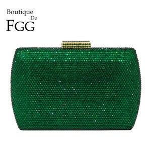 Image 1 - Boutique De FGG ElegantสีเขียวมรกตคริสตัลEveningกระเป๋าถือโลหะกรณีอาหารค่ำคลัทช์