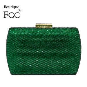 Image 1 - Boutique De FGG Elegant Green Emerald Crystal Women Evening Handbags Metal Hard Case Wedding Party Dinner Diamond Clutch Bag