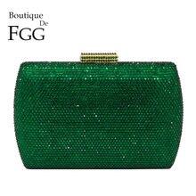 Boutique De FGG Elegante Verde Smeraldo di Cristallo Borse Da Sera Le Donne Cassa Dura Del Metallo di Cerimonia Nuziale Del Partito di Pranzo Sacchetto di Frizione del Diamante