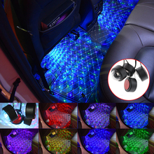 Car USB Decorative Ambient Light Universal Auto LED Atmosphere Colorful RGB Interior Floor Foot Lamp car led ambient star light dj rgb colorful music sound lamp interior decorative light usb led car auto atmosphere