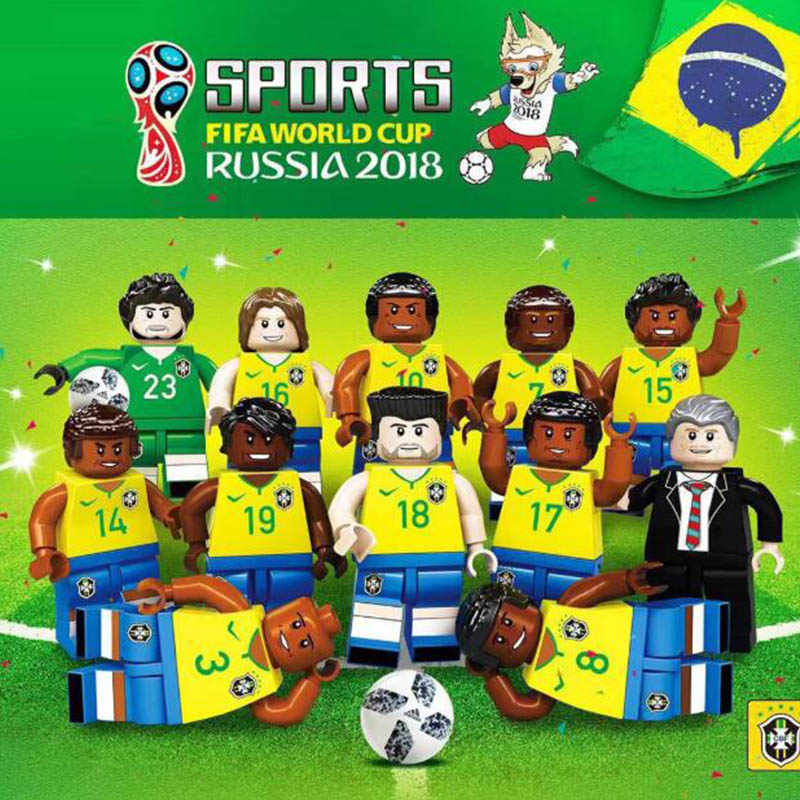 2018 Germany Brazil Football Team Sports Figures City Building Blocks Boys Soccer toys gift Compatible legoinglys Football block