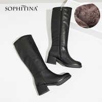 SOPHITINA 2019 nouvelles chaussures Sexy genou-bottes en cuir de vache élégant bout rond chaud court en peluche hiver chaîne perle chaussures bottes BA20