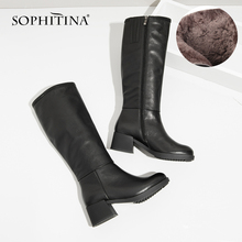 SOPHITINA New Sexy Knee-High Boots Cow Leather High Heel Elegant Round Toe Warm Short Plush Winter String bead Shoes Boots BA20 vallu sexy stylish long boots for women 2018 new warm knee high boots lady thick heel nubuck leather female plush shoes