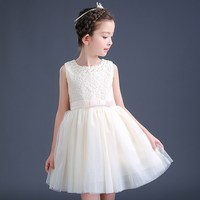 Girl'S Dress 2018 Spring Summer New Style Young STUDENT'S Princess Veil Girls Red Formal Dress Children White Dress