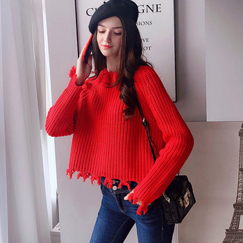 цена на Dabuwawa Frayed Loose Fit Crop Jumper Pullover Solid Sweater Women Round Neck Raglan sleeves Casual Sweaters Female DN1DKT037