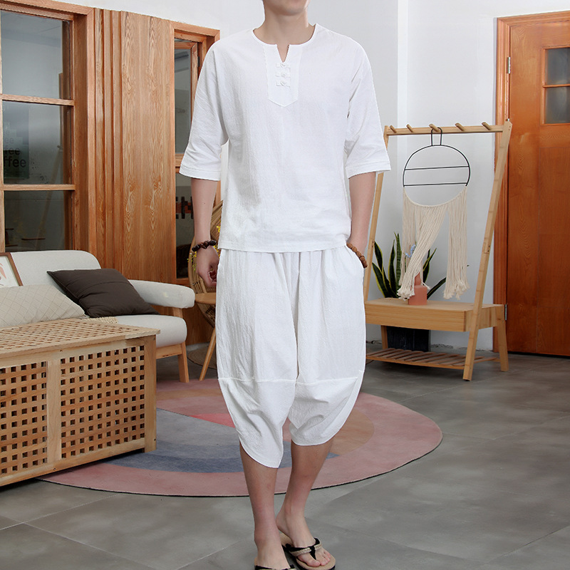 2019 Summer Hot Selling New Style Flax Set Men Chinese-style Loose-Fit Capri Pants Tops Large Size