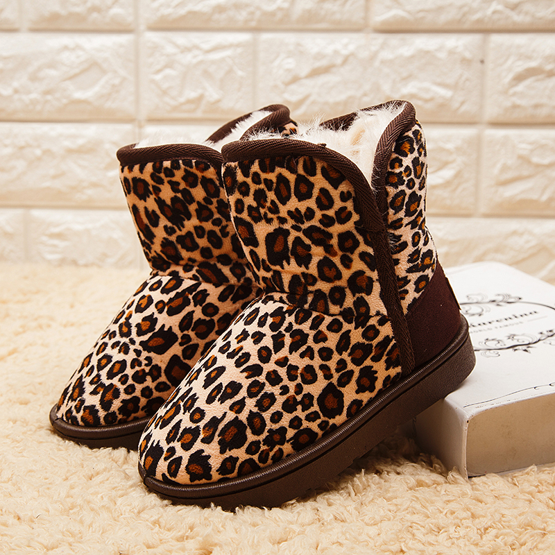 Warm Kids Snow Boots For Children New Toddler Winter LeopardChild Shoes Non-slip Flat Round Toe Girls Boots