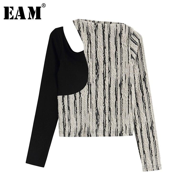 [Eem] kadınlar siyah çizgili mizaç oymak T-shirt yeni yuvarlak boyun uzun kollu moda gelgit bahar yaz 2021 1W148