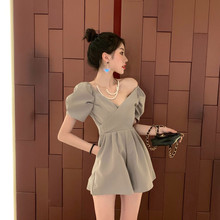 Summer Fashion Women Playsuits 2019 New Sexy V-neck Puff Sle