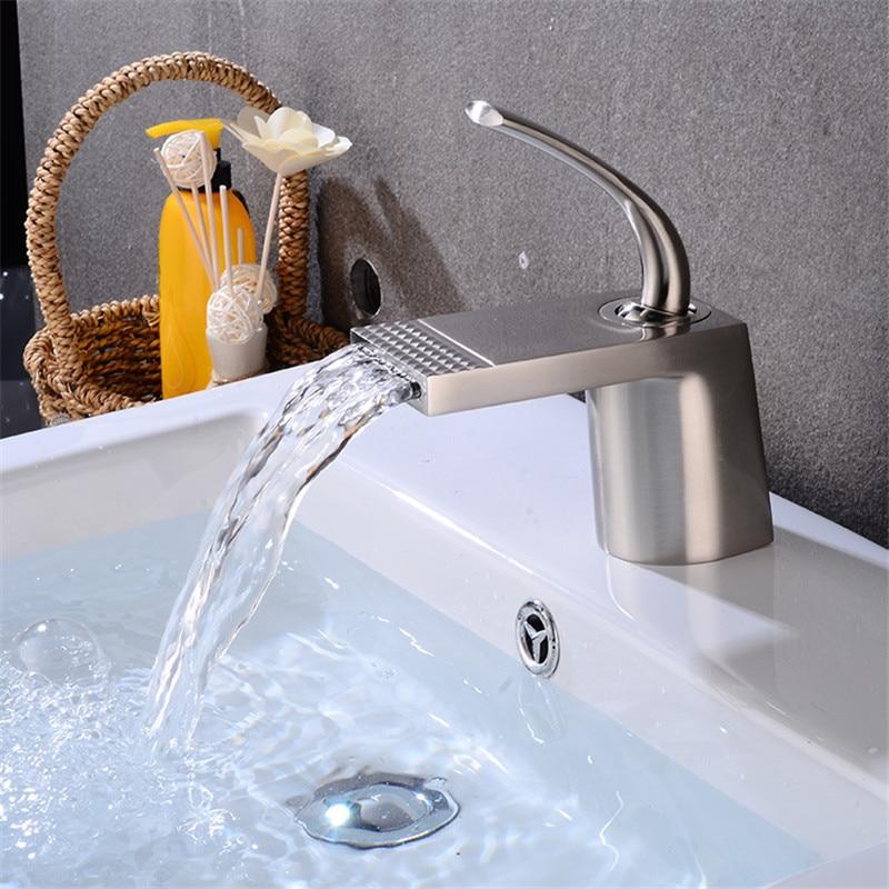 Bathroom Basin Faucet Brush Gold White Baking Solid Brass Unique Design Sink Mixer Tap Hot Cold Waterfall Basin Faucets Basin Faucets Aliexpress