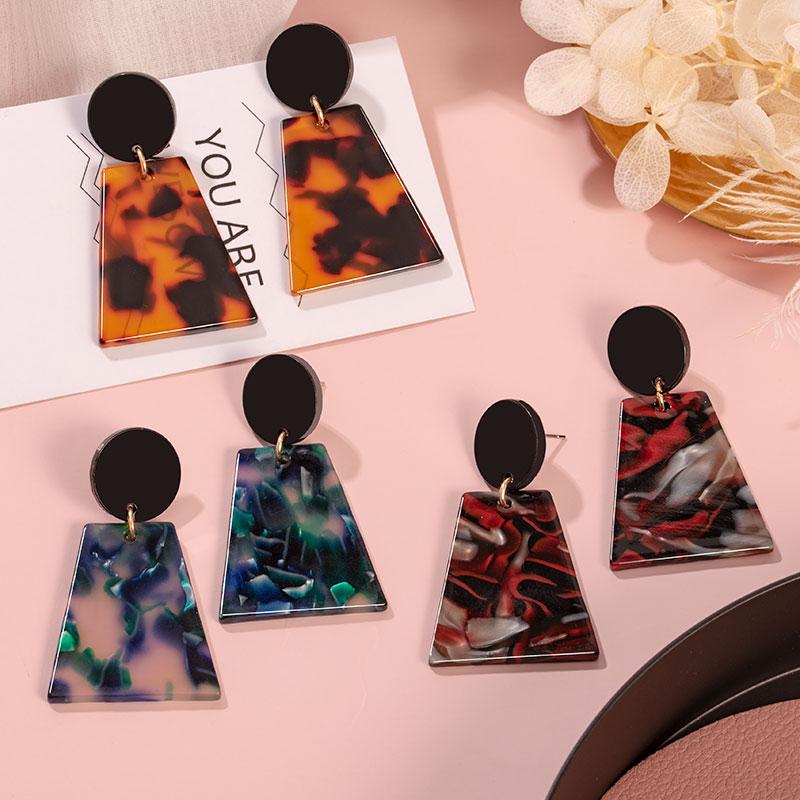2020 Korean Geometric Acrylic Rectangle Drop Earrings for Women Fashion Statement Colorful Dangle Earing Brincos Wedding Jewelry