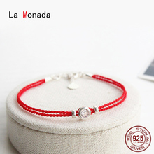 La Monada אדום לידי זוגות נשים של 925 כסף סטרלינג צמידי כפול אדום מחרוזת חבל תכשיטי צמידי עבור נשים