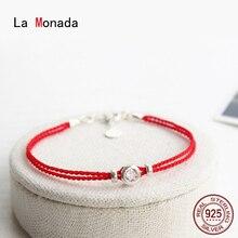 ラmonada赤糸手カップル女性の 925 スターリングシルバーブレスレットダブル赤文字列ロープジュエリーブレスレット女性