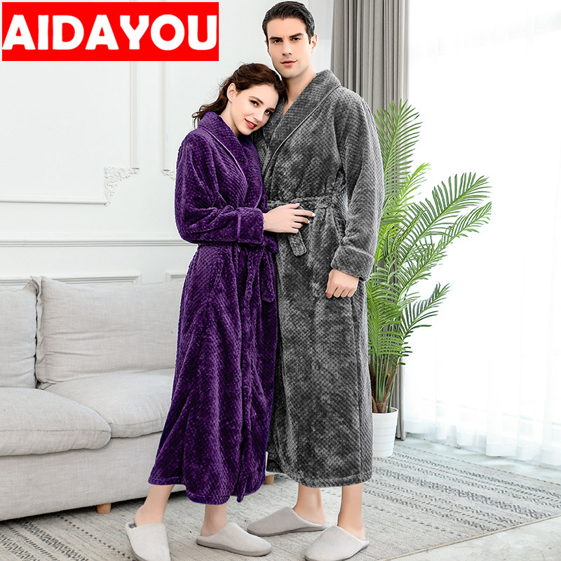 Winter Coral Velvet Bathrobe Women Pajamas Womens Nightgowns Flannel Warm Robe Sleepwear Womens Robes Coral Velvet  ouc304-in Robes from Underwear & Sleepwears
