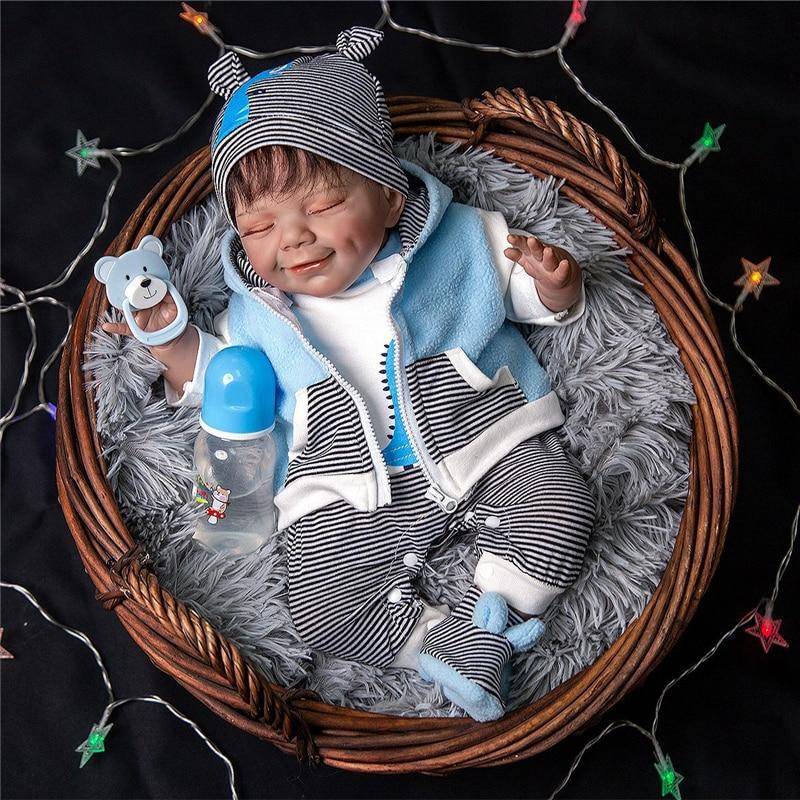 55cm Reborn Baby Puppe Silikon Mode Puppe Playmate Kinder Spielzeug Beschwichtigen Puppe Pretend Spielen Spielzeug Weihnachten Geburtstag Geschenke