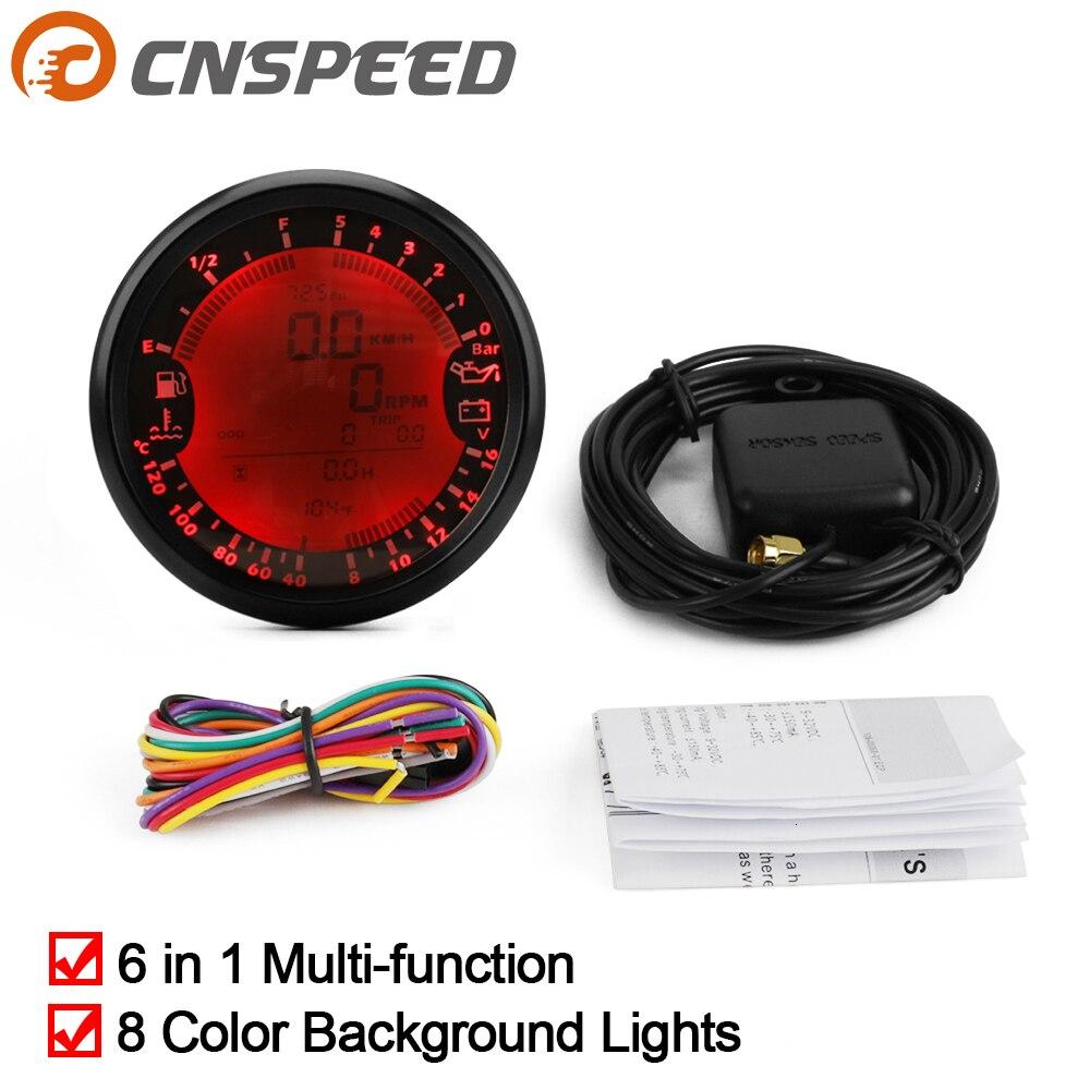 ユニバーサル 6 で 1 多機能ゲージ GPS スピードメータータコメータ時間水温燃料レベル油圧電圧計 12V 0-5Bar