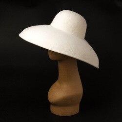 01908-HH8134 witte wol winter grote rand Hepburn Stijl lady zon cap vrouwen strand vakantie hoed