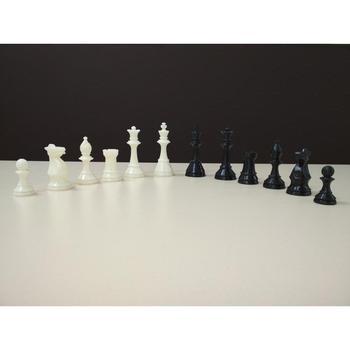 Комплект шахматных фигур пластмассовых с утяжелителем ручной работы и виниловой доски 43 Х 43 см
