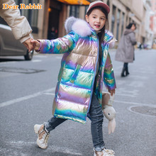 fashion Down Jacket for Girl Warm Child parka real Colored Fur collar Thicken Outerwear Winter clothes Teen 5-16 yrs snowsuit(China)