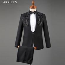 Black Wedding Suit for Men Floral Sequin Mens Suits 3 Piece with Bow Tie Men Suit Set Tuxedo Stage Prom Performance Men Clothing