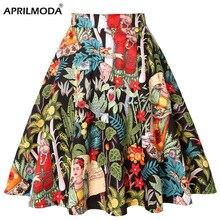 גבוהה מותן מסלול קפלים חצאית שחור מנוקדת הברך אורך כותנה רטרו בציר 50s רוקבילי Swing שמלה קיצית בתוספת גודל סקטים