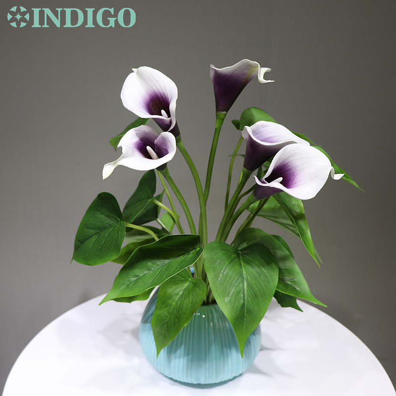 Indigo Purple Heart Calla Bouquet 18pcs Leaves 5 Flowers Real Touch Wedding Christmas Display Artificial Flower Artificial Dried Flowers Aliexpress