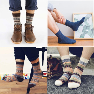 Image 5 - 10 Pairs/Lot Wool Socks Men Crew Casual Winter Warm Cashmere Comfortable Bohemian Sock Male Gift for Husband Father Wholesale