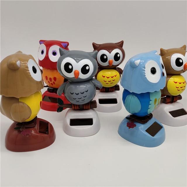 1Pcs Solar Powered Cute Owl Birds Shaking Head Car Ornament Solar Toys Classic Swing Doll Auto Dashboard Accessories Toys 3
