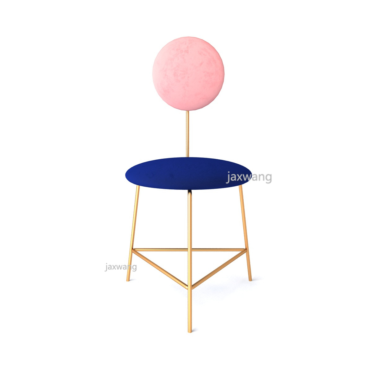 Modern Fashion Classic Design Loft Metal Double Color Customized Fabric Upholstered Soft Cover Dining Chair Makeup Stool Chair